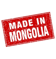 Mongolia red square grunge made in stamp vector