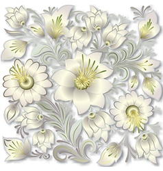 Abstract silver floral ornament on white vector