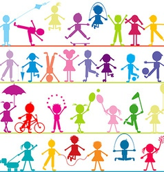Background with stylized children playing vector image