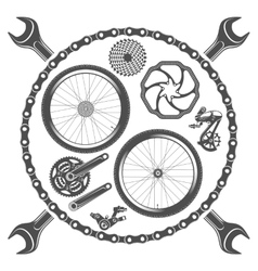 Bicycle parts isolated on white background vector