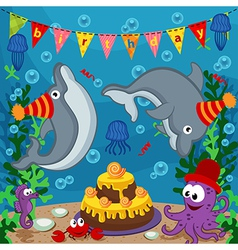 Birthday marine animals vector