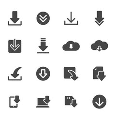 black download icons set vector image vector image