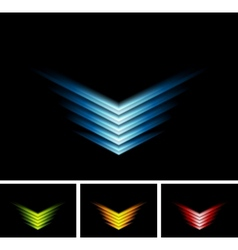 Bright glowing arrows on black background vector image