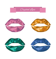 Crystal lips set in low polygon style vector