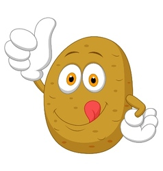 Cute potato cartoon thumb up vector