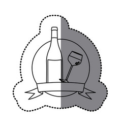 Figure emblem wine bottle and glass with wine vector