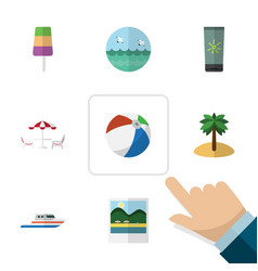 Flat icon beach set of ocean coconut recliner vector