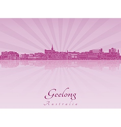 Geelong skyline in purple radiant orchid vector