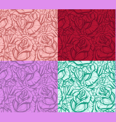 Graphic realistic detailed rose seamless pattern vector