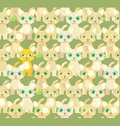 Green seamless pattern with cartoon cats vector