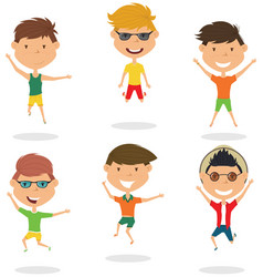 happy cartoon boys jumping vector image vector image