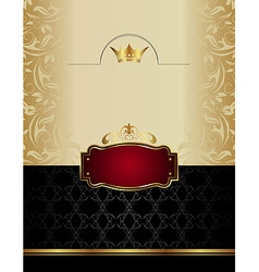 luxury gold wine label with emblem vector image vector image