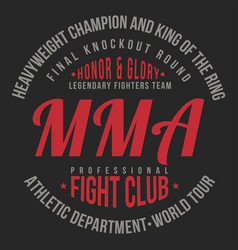 mma mixed martial arts typography for t-shirt vector image vector image