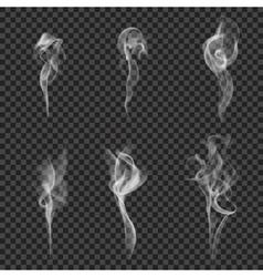Monochrome realistic smoke set vector