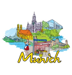 munich doodles vector image vector image