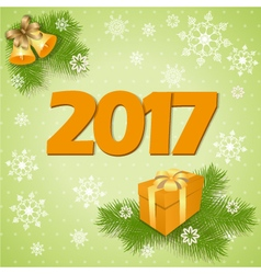 New year card with gift vector image vector image