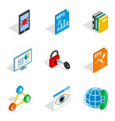 Protocol icons set isometric style vector
