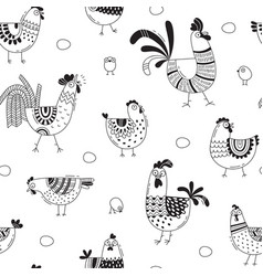 seamless pattern with chickens roosters eggs in vector image