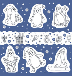 Set of penguin and christmas presents icons vector