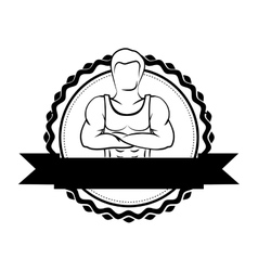 Silhouette sticker border with muscle man crossed vector