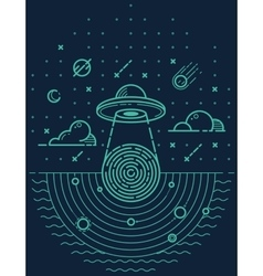 Ufo in dark night vector image