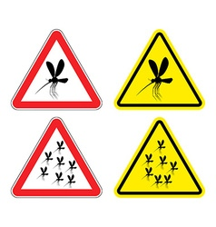 Warning sign attention mosquitoes Hazard yellow vector image vector image