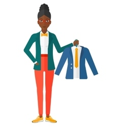 Woman holding jacket vector image vector image