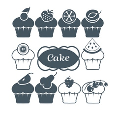 10 fruitcakes set vector image