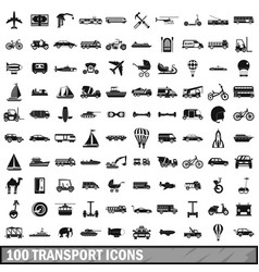 100 transport icons set simple style vector image vector image
