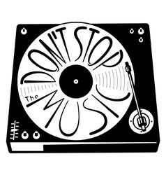 Retro turntable silhouette isolated with vinyl rec vector