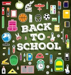 Back to school school supplies on green board vector