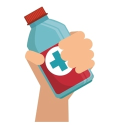 Hand holding medication bottle vector