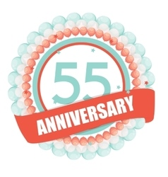 Cute template 55 years anniversary with balloons vector
