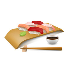 Sushi set on wooden board vector