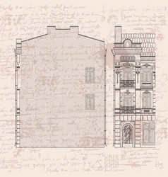Drawing three-storey house in baroque style vector