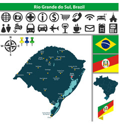 Map of rio grande do sul brazil vector
