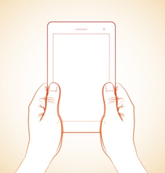 2 Hand Holding Tablet 3 vector image