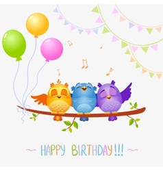 Birds sing birthday vector
