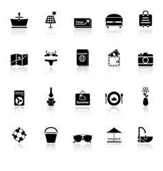 Summer icons with reflect on white background vector