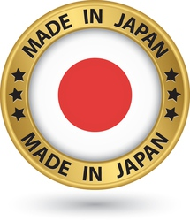 Made in Japan gold label with flag vector image