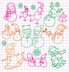 Christmas doodles with snowmen- vector