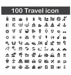 100 travel icon vector