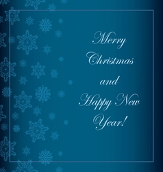 Blue christmas background with snowflakes and a wi vector