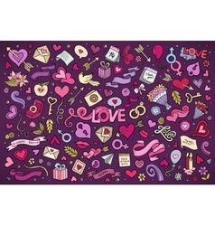Colorful hand drawn doodles cartoon set of vector