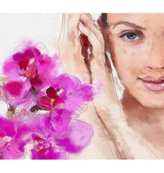 Hand drawn painting of a womans face and flowers vector