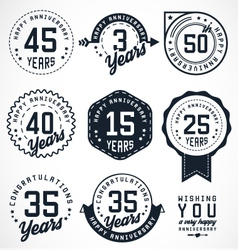 Anniversary Badges and Labels in Vintage Style vector image vector image