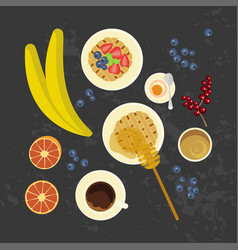 breakfast with cup of coffe vector image