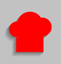 Chef cap sign red icon with soft shadow vector