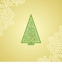 christmas postcard with green christmas tree vector image vector image