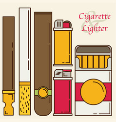 cigarette and lighter set vector image